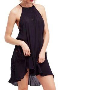 Free People black Heat Wave Swing Tunic dress